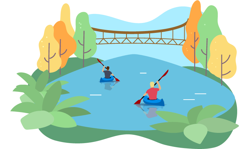 kayaking in a lake